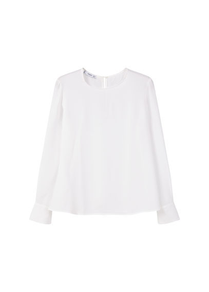 Flowy Blouse - pattern: plain; length: below the bottom; style: blouse; predominant colour: white; occasions: casual, creative work; fibres: polyester/polyamide - 100%; fit: loose; neckline: crew; back detail: keyhole/peephole detail at back; sleeve length: long sleeve; sleeve style: standard; pattern type: fabric; texture group: other - light to midweight; season: s/s 2016