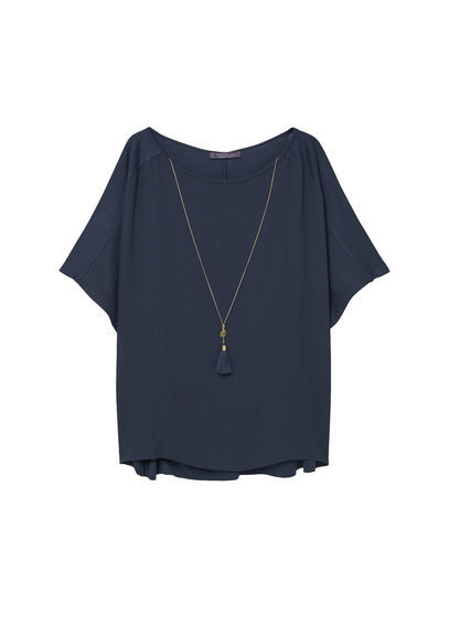 Chain Detail T Shirt - neckline: slash/boat neckline; pattern: plain; length: below the bottom; style: blouse; predominant colour: navy; secondary colour: gold; occasions: casual, creative work; fibres: viscose/rayon - 100%; fit: loose; sleeve length: half sleeve; sleeve style: standard; pattern type: fabric; texture group: woven light midweight; embellishment: chain/metal; season: s/s 2016; wardrobe: highlight; embellishment location: bust, neck