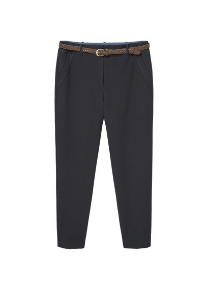 Detachable Belt Trousers - pattern: plain; waist: mid/regular rise; secondary colour: white; predominant colour: navy; occasions: casual, creative work; length: ankle length; fibres: cotton - 100%; texture group: cotton feel fabrics; fit: slim leg; pattern type: fabric; style: standard; season: s/s 2016; wardrobe: basic