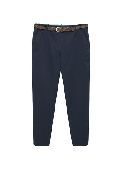 Belt Cotton Blend Trousers - length: standard; pattern: plain; waist detail: belted waist/tie at waist/drawstring; waist: mid/regular rise; predominant colour: navy; occasions: casual, creative work; fibres: cotton - stretch; fit: straight leg; pattern type: fabric; texture group: woven light midweight; style: standard; pattern size: standard (bottom); season: s/s 2016