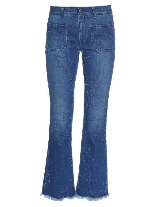 Star Distressed Cropped Kick Flare Jeans - style: flares; waist: mid/regular rise; predominant colour: denim; occasions: casual; length: ankle length; fibres: cotton - stretch; jeans detail: shading down centre of thigh; texture group: denim; pattern type: fabric; pattern: florals; season: s/s 2016; wardrobe: highlight