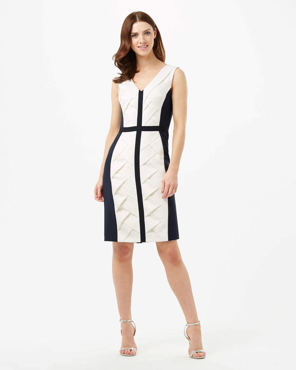 Carly Weave Dress - neckline: v-neck; fit: tight; pattern: plain; sleeve style: sleeveless; style: bodycon; predominant colour: ivory/cream; secondary colour: black; occasions: evening; length: on the knee; fibres: polyester/polyamide - 100%; sleeve length: sleeveless; texture group: jersey - clingy; pattern type: fabric; multicoloured: multicoloured; season: s/s 2016; wardrobe: event