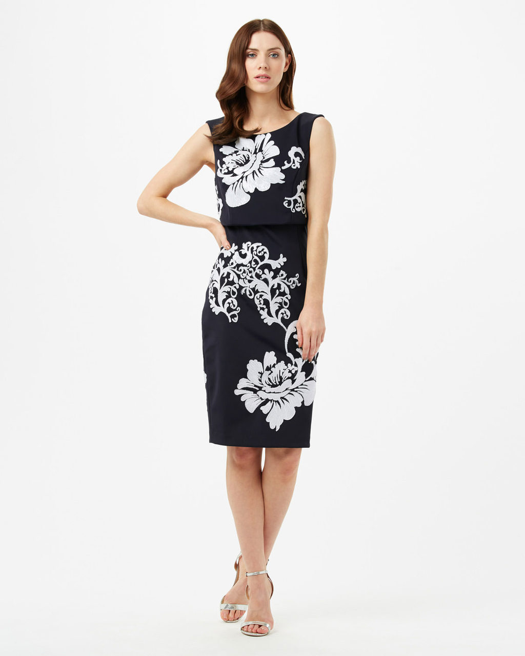 Moira Sequin Flower Dress - style: shift; fit: tailored/fitted; sleeve style: sleeveless; secondary colour: white; predominant colour: black; occasions: evening; length: on the knee; fibres: polyester/polyamide - stretch; neckline: crew; sleeve length: sleeveless; texture group: ornate wovens; pattern type: fabric; pattern: florals; embellishment: sequins; multicoloured: multicoloured; season: s/s 2016; wardrobe: event