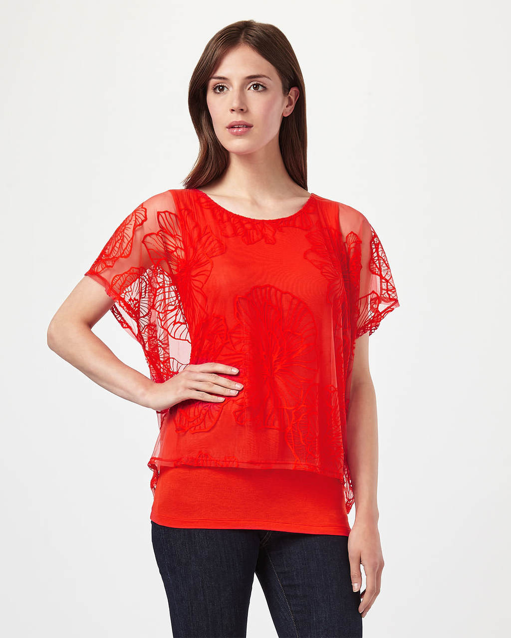 Cecily Dbl Layer Top - pattern: plain; predominant colour: bright orange; occasions: evening; length: standard; style: top; fit: body skimming; neckline: crew; sleeve length: short sleeve; sleeve style: standard; texture group: lace; pattern type: fabric; fibres: viscose/rayon - mix; embellishment: lace; shoulder detail: sheer at shoulder; season: s/s 2016; wardrobe: event