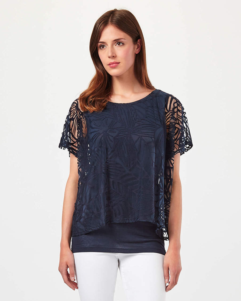 Cecily Dbl Layer Top - neckline: round neck; pattern: plain; predominant colour: navy; occasions: evening; length: standard; style: top; fit: body skimming; sleeve length: short sleeve; sleeve style: standard; texture group: lace; pattern type: fabric; fibres: viscose/rayon - mix; embellishment: lace; shoulder detail: sheer at shoulder; season: s/s 2016; wardrobe: event