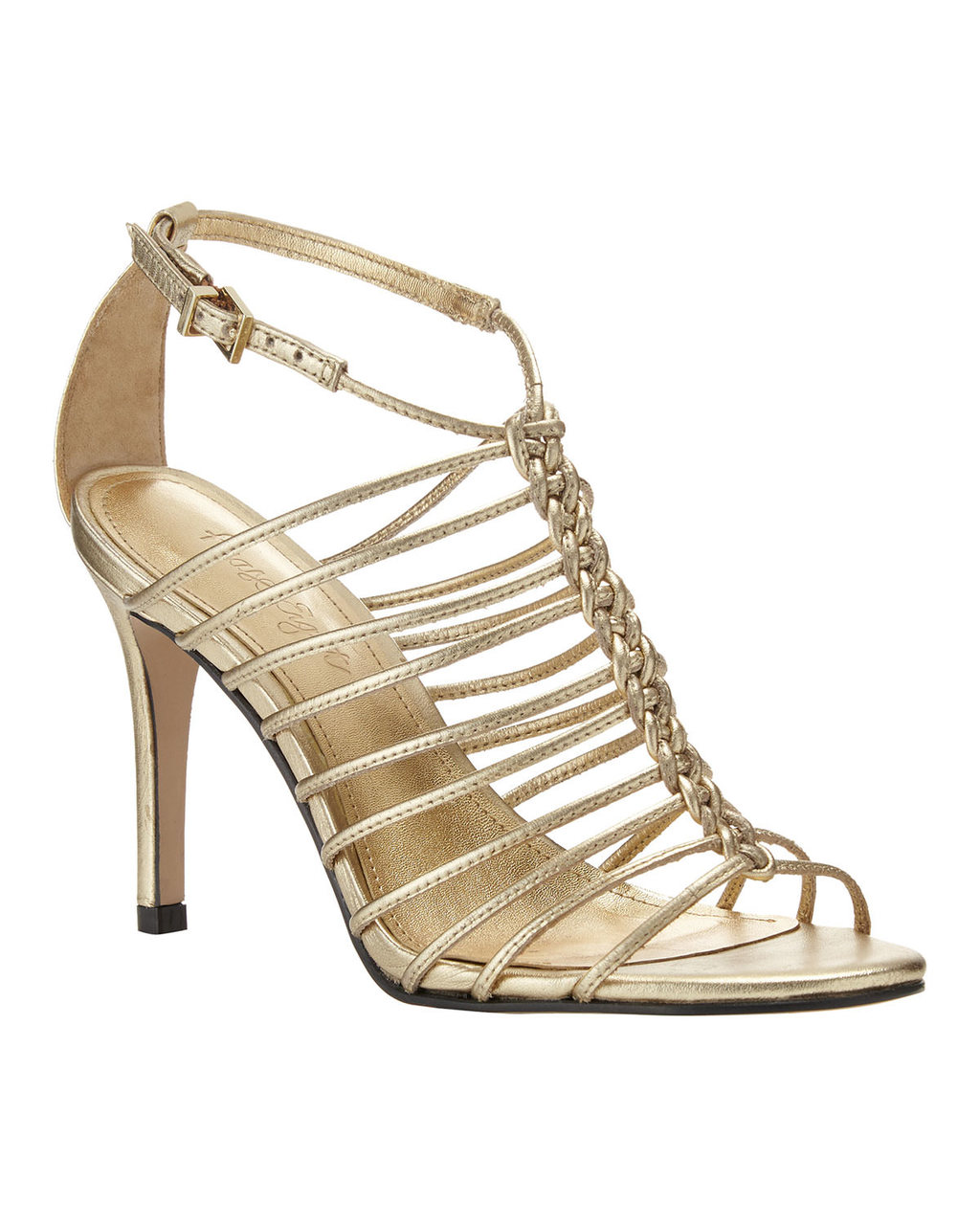 Gigi Leather Sandal - predominant colour: gold; occasions: evening; material: leather; heel height: high; ankle detail: ankle strap; heel: stiletto; toe: open toe/peeptoe; style: strappy; finish: metallic; pattern: plain; season: s/s 2016