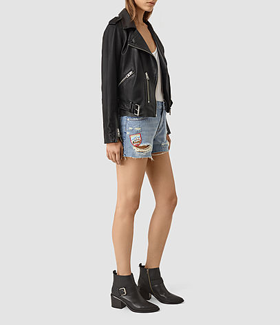 Kate Distressed Shorts - pattern: plain; pocket detail: traditional 5 pocket; waist: mid/regular rise; predominant colour: denim; occasions: casual, holiday; fibres: cotton - stretch; texture group: denim; pattern type: fabric; season: s/s 2016; style: denim; length: short shorts; fit: slim leg; wardrobe: holiday