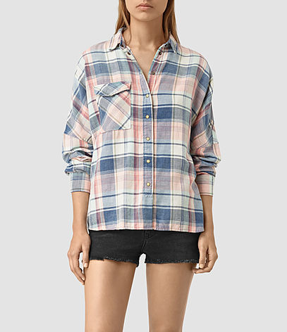 Bella Oversize Check Shirt - neckline: shirt collar/peter pan/zip with opening; pattern: checked/gingham; style: shirt; secondary colour: blush; predominant colour: denim; occasions: casual; length: standard; fibres: cotton - 100%; fit: body skimming; sleeve length: long sleeve; sleeve style: standard; texture group: cotton feel fabrics; pattern type: fabric; multicoloured: multicoloured; season: s/s 2016; wardrobe: highlight