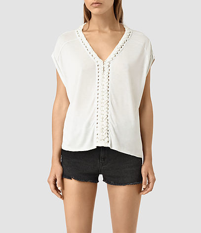 Aria Crop Tee - neckline: v-neck; sleeve style: capped; pattern: plain; style: t-shirt; predominant colour: white; occasions: casual, creative work; length: standard; fibres: viscose/rayon - 100%; fit: loose; sleeve length: short sleeve; pattern type: fabric; texture group: jersey - stretchy/drapey; season: s/s 2016; wardrobe: basic