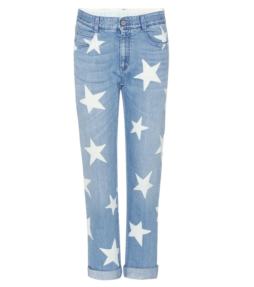 Tomboy Star Boyfriend Fit Jeans - style: boyfriend; length: standard; pocket detail: traditional 5 pocket; waist: mid/regular rise; secondary colour: ivory/cream; predominant colour: pale blue; occasions: casual, creative work; fibres: cotton - stretch; jeans detail: shading down centre of thigh; jeans & bottoms detail: turn ups; texture group: denim; pattern type: fabric; pattern: patterned/print; pattern size: big & busy (bottom); season: s/s 2016; wardrobe: highlight