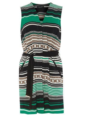 Womens Chain Print Sleeveless Cover Up Green - neckline: v-neck; pattern: horizontal stripes; sleeve style: sleeveless; length: below the bottom; style: tunic; waist detail: belted waist/tie at waist/drawstring; predominant colour: emerald green; secondary colour: black; occasions: casual; fibres: polyester/polyamide - 100%; fit: body skimming; sleeve length: sleeveless; pattern type: fabric; pattern size: standard; texture group: woven light midweight; multicoloured: multicoloured; season: s/s 2016; wardrobe: highlight