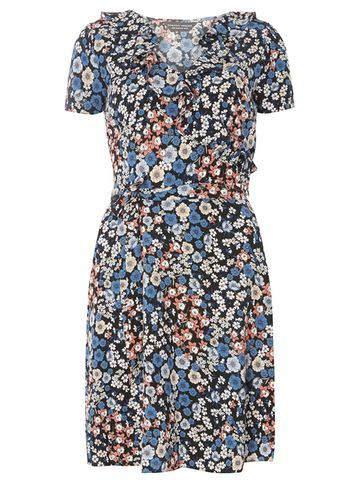 Womens Blue And Black Ruffle Dress Blue - style: shift; length: mini; neckline: v-neck; waist detail: belted waist/tie at waist/drawstring; secondary colour: ivory/cream; predominant colour: denim; occasions: evening; fit: body skimming; fibres: polyester/polyamide - 100%; sleeve length: short sleeve; sleeve style: standard; bust detail: bulky details at bust; pattern type: fabric; pattern: florals; texture group: other - light to midweight; multicoloured: multicoloured; season: s/s 2016; wardrobe: event