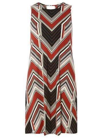 Womens Rust Chevron Sleeveless Dress Red - style: shift; neckline: v-neck; sleeve style: sleeveless; predominant colour: burgundy; secondary colour: black; occasions: evening; length: just above the knee; fit: body skimming; fibres: viscose/rayon - stretch; sleeve length: sleeveless; pattern type: fabric; pattern: patterned/print; texture group: jersey - stretchy/drapey; season: s/s 2016
