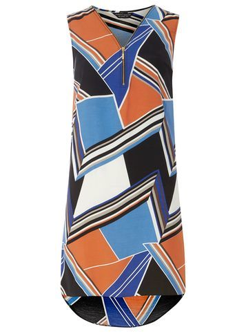 Womens Orange Printed Zip Front Dress Orange - style: shift; neckline: v-neck; sleeve style: sleeveless; predominant colour: diva blue; secondary colour: bright orange; occasions: evening; length: just above the knee; fit: body skimming; fibres: viscose/rayon - 100%; sleeve length: sleeveless; pattern type: fabric; pattern: patterned/print; texture group: woven light midweight; season: s/s 2016