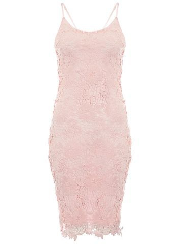 Womens **Quiz Lace Strap Midi Dress Pink - sleeve style: spaghetti straps; fit: tight; style: bodycon; predominant colour: pink; occasions: evening; length: just above the knee; neckline: scoop; fibres: polyester/polyamide - 100%; sleeve length: sleeveless; texture group: lace; pattern type: fabric; pattern: patterned/print; season: s/s 2016; wardrobe: event
