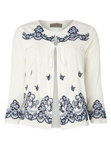 Womens **Vero Moda White Embroidered Blouse White - neckline: round neck; pattern: plain; style: blouse; predominant colour: white; secondary colour: navy; occasions: casual, creative work; length: standard; fibres: viscose/rayon - 100%; fit: body skimming; sleeve length: 3/4 length; sleeve style: standard; pattern type: fabric; texture group: other - light to midweight; embellishment: embroidered; season: s/s 2016