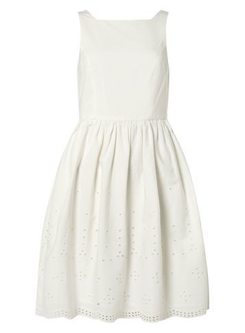Womens **Vero Moda White Embroidered Dress White - pattern: plain; sleeve style: sleeveless; predominant colour: white; occasions: evening; length: just above the knee; fit: fitted at waist & bust; style: fit & flare; fibres: polyester/polyamide - 100%; neckline: crew; sleeve length: sleeveless; pattern type: fabric; texture group: woven light midweight; season: s/s 2016; wardrobe: event