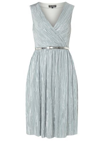 Womens **Billie & Blossom Silver Plisse Dress Silver - style: faux wrap/wrap; neckline: v-neck; pattern: plain; sleeve style: sleeveless; waist detail: belted waist/tie at waist/drawstring; predominant colour: silver; occasions: evening; length: just above the knee; fit: body skimming; fibres: polyester/polyamide - 100%; sleeve length: sleeveless; pattern type: fabric; texture group: other - light to midweight; season: s/s 2016; wardrobe: event