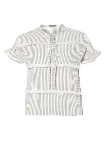 Womens **First & I Tassle Stripe Top Black - pattern: striped; secondary colour: ivory/cream; predominant colour: black; occasions: casual, creative work; length: standard; style: top; neckline: collarstand; fibres: viscose/rayon - 100%; fit: straight cut; sleeve length: short sleeve; sleeve style: standard; pattern type: fabric; texture group: other - light to midweight; pattern size: big & busy (top); season: s/s 2016