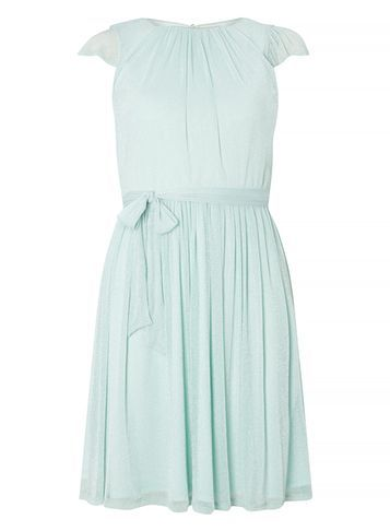 Womens **Billie & Blossom Mint Fit & Flare Dress Green - sleeve style: capped; pattern: plain; waist detail: belted waist/tie at waist/drawstring; predominant colour: pale blue; length: just above the knee; fit: fitted at waist & bust; style: fit & flare; fibres: polyester/polyamide - 100%; occasions: occasion; neckline: crew; hip detail: subtle/flattering hip detail; sleeve length: short sleeve; texture group: sheer fabrics/chiffon/organza etc.; pattern type: fabric; season: s/s 2016; wardrobe: event