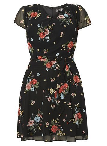 Womens **Billie & Blossom Curve Black Floral Dress Black - length: mid thigh; neckline: v-neck; secondary colour: true red; predominant colour: black; occasions: evening; fit: fitted at waist & bust; style: fit & flare; fibres: polyester/polyamide - 100%; sleeve length: short sleeve; sleeve style: standard; texture group: sheer fabrics/chiffon/organza etc.; pattern type: fabric; pattern: florals; multicoloured: multicoloured; season: s/s 2016