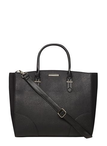 Womens Black Oversized Curve Tote Bag Black - predominant colour: black; occasions: casual, work, creative work; type of pattern: standard; style: tote; length: handle; size: standard; material: faux leather; pattern: plain; finish: plain; season: s/s 2016; wardrobe: investment