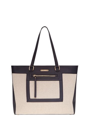 Womens Black And Nude Chevron Tote Bag Black - predominant colour: stone; secondary colour: black; occasions: casual; type of pattern: standard; style: tote; length: handle; size: oversized; material: fabric; finish: plain; pattern: colourblock; season: s/s 2016