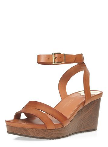 Womens Wide Fit Tan 'wontoni' Wedges Brown - predominant colour: tan; occasions: casual, holiday; material: faux leather; heel height: high; ankle detail: ankle strap; heel: wedge; toe: open toe/peeptoe; style: strappy; finish: plain; pattern: plain; shoe detail: platform; season: s/s 2016; wardrobe: highlight