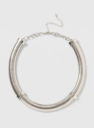 Womens Silver Flat Tube Necklace Silver - predominant colour: silver; occasions: evening, occasion; style: choker/collar/torque; length: choker; size: large/oversized; material: chain/metal; finish: metallic; season: s/s 2016; wardrobe: event