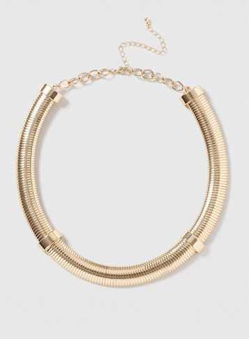 Womens Gold Flat Tube Necklace Gold - predominant colour: gold; occasions: evening, occasion; style: choker/collar/torque; length: choker; size: large/oversized; material: chain/metal; finish: metallic; season: s/s 2016