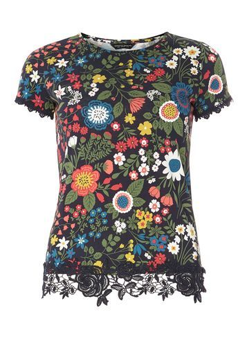 Womens Navy Floral Lace Trim Tee Blue - style: t-shirt; secondary colour: dark green; predominant colour: black; occasions: casual, creative work; length: standard; fibres: cotton - 100%; fit: body skimming; neckline: crew; sleeve length: short sleeve; sleeve style: standard; pattern type: fabric; pattern size: standard; pattern: florals; texture group: jersey - stretchy/drapey; embellishment: lace; multicoloured: multicoloured; season: s/s 2016