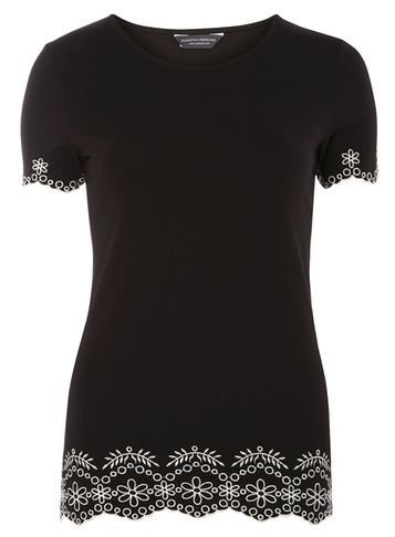 Womens **Tall Black Embroidered Hem Tee Black - pattern: plain; length: below the bottom; style: t-shirt; secondary colour: white; predominant colour: black; occasions: casual, creative work; fibres: cotton - 100%; fit: body skimming; neckline: crew; sleeve length: short sleeve; sleeve style: standard; pattern type: fabric; texture group: jersey - stretchy/drapey; embellishment: embroidered; season: s/s 2016; wardrobe: highlight