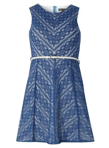 Womens **Mela Blue Lace Belted Dress Blue - neckline: v-neck; sleeve style: sleeveless; predominant colour: royal blue; length: just above the knee; fit: fitted at waist & bust; style: fit & flare; fibres: polyester/polyamide - 100%; occasions: occasion; sleeve length: sleeveless; texture group: lace; pattern type: fabric; pattern: patterned/print; season: s/s 2016; wardrobe: event