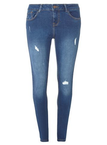 Womens **Tall Bright Blue Casey Skinny Jeans Blue - style: skinny leg; length: standard; pattern: plain; pocket detail: traditional 5 pocket; waist: mid/regular rise; predominant colour: navy; occasions: casual; fibres: cotton - stretch; jeans detail: shading down centre of thigh, rips; texture group: denim; pattern type: fabric; season: s/s 2016; wardrobe: basic
