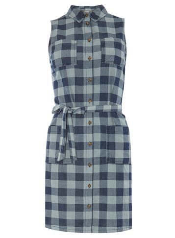 Womens Check Sleeveless Denim Dress Blue - style: shirt; length: mid thigh; neckline: shirt collar/peter pan/zip with opening; sleeve style: sleeveless; pattern: checked/gingham; waist detail: belted waist/tie at waist/drawstring; secondary colour: pale blue; predominant colour: denim; occasions: casual; fit: body skimming; fibres: cotton - 100%; sleeve length: sleeveless; texture group: cotton feel fabrics; pattern type: fabric; season: s/s 2016; wardrobe: highlight