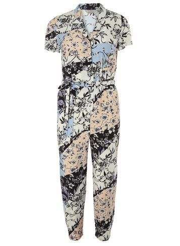 Womens Petite Floral Jumpsuit Fl Multi - length: standard; neckline: shirt collar/peter pan/zip with opening; waist detail: belted waist/tie at waist/drawstring; predominant colour: white; secondary colour: charcoal; occasions: casual; fit: body skimming; fibres: viscose/rayon - 100%; sleeve length: short sleeve; sleeve style: standard; style: jumpsuit; pattern type: fabric; pattern size: big & busy; pattern: florals; texture group: woven light midweight; multicoloured: multicoloured; season: s/s 2016; wardrobe: highlight