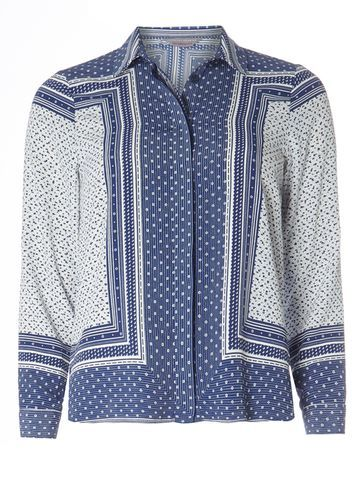Womens Petite Blue Scarf Print Shirt Blue - neckline: shirt collar/peter pan/zip with opening; style: shirt; secondary colour: ivory/cream; predominant colour: royal blue; occasions: casual, creative work; length: standard; fibres: polyester/polyamide - 100%; fit: loose; sleeve length: long sleeve; sleeve style: standard; pattern type: fabric; pattern size: standard; pattern: patterned/print; texture group: other - light to midweight; multicoloured: multicoloured; season: s/s 2016; wardrobe: highlight