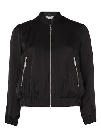 Womens Petite Black Satin Bomber Black - pattern: plain; collar: round collar/collarless; style: bomber; predominant colour: black; occasions: casual, creative work; length: standard; fit: straight cut (boxy); fibres: polyester/polyamide - 100%; sleeve length: long sleeve; sleeve style: standard; collar break: high; pattern type: fabric; pattern size: standard; texture group: other - light to midweight; season: s/s 2016; wardrobe: basic