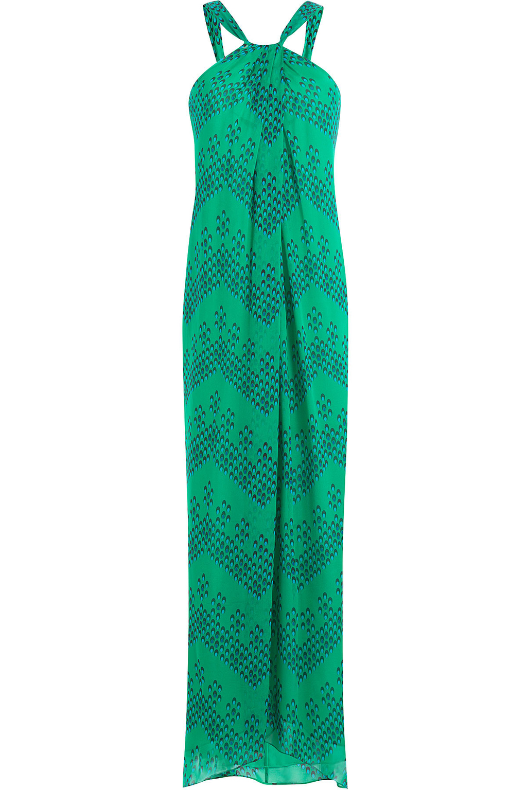 Printed Silk Maxi Dress - sleeve style: sleeveless; style: maxi dress; length: ankle length; secondary colour: royal blue; predominant colour: emerald green; fit: body skimming; fibres: silk - 100%; occasions: occasion; sleeve length: sleeveless; texture group: sheer fabrics/chiffon/organza etc.; pattern type: fabric; pattern size: standard; pattern: patterned/print; season: s/s 2016; neckline: high halter neck; wardrobe: event