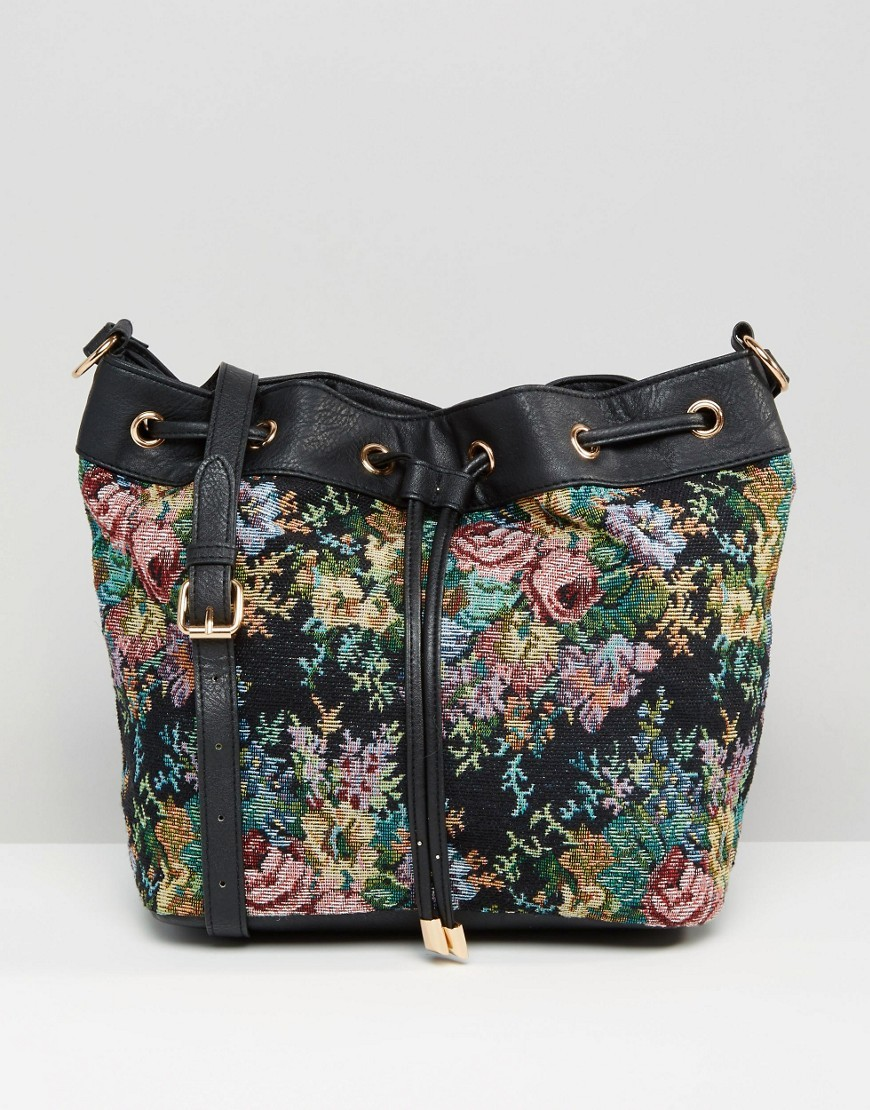 Tapestry Duffle Bag Multi - secondary colour: pink; predominant colour: black; occasions: casual, creative work; type of pattern: heavy; style: onion bag; length: rucksack; size: standard; material: fabric; pattern: florals; finish: plain; multicoloured: multicoloured; season: s/s 2016; wardrobe: highlight