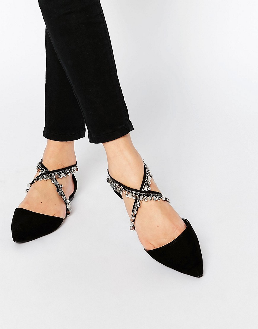 Lux Chain Detail Ballet Flats Black - predominant colour: black; occasions: casual, creative work; material: faux leather; heel height: flat; ankle detail: ankle strap; toe: pointed toe; style: ballerinas / pumps; finish: plain; pattern: plain; embellishment: chain/metal; season: s/s 2016
