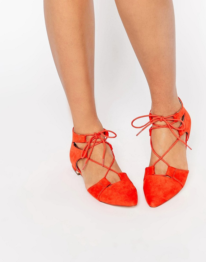 Let's Play Pointed Lace Up Ballet Flats Red - predominant colour: true red; occasions: casual, creative work; material: faux leather; heel height: flat; ankle detail: ankle tie; toe: pointed toe; style: ballerinas / pumps; finish: plain; pattern: plain; season: s/s 2016