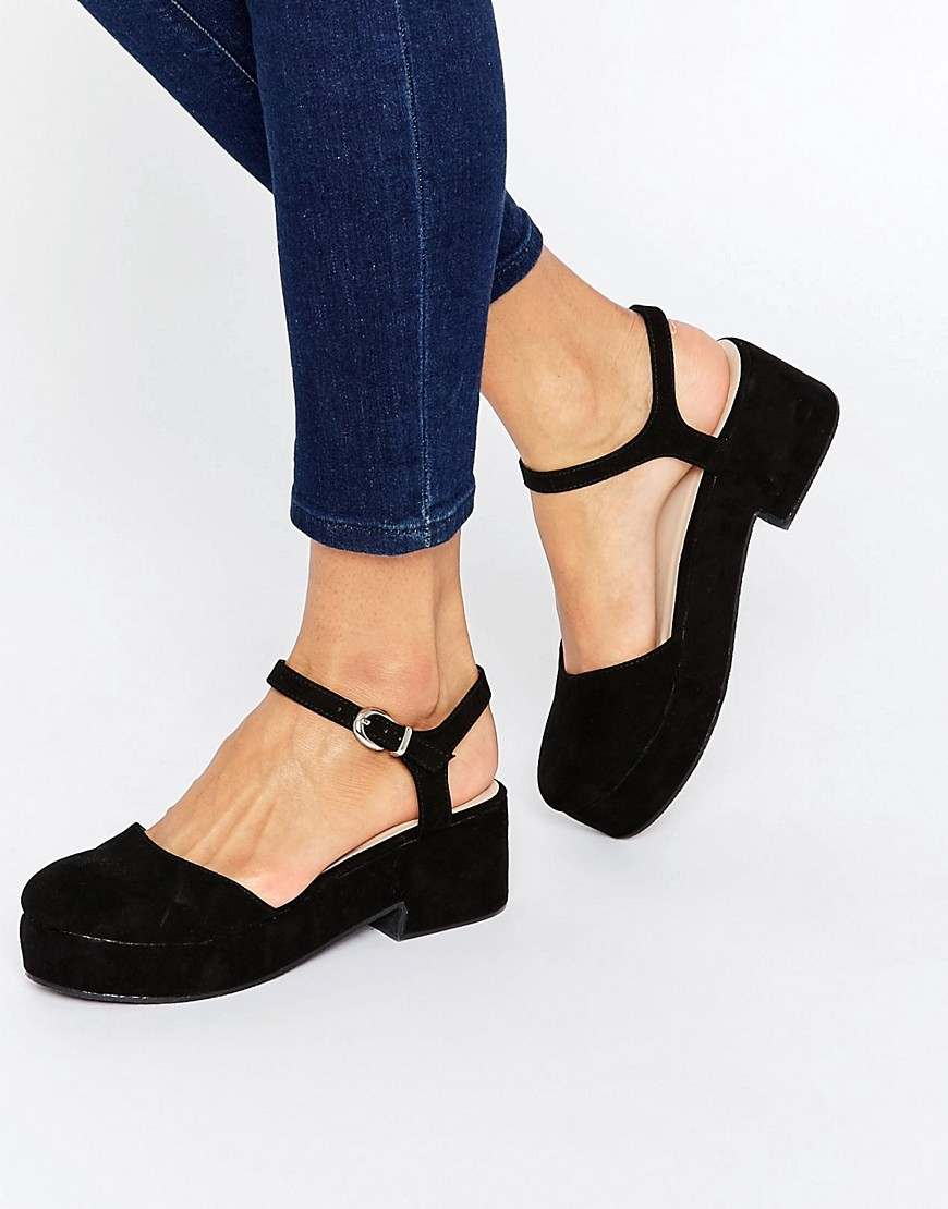 Opal Flatform Shoes Black - predominant colour: black; heel height: mid; ankle detail: ankle strap; heel: block; toe: round toe; style: slingbacks; finish: plain; pattern: plain; material: faux suede; occasions: creative work; shoe detail: platform; season: s/s 2016; wardrobe: investment