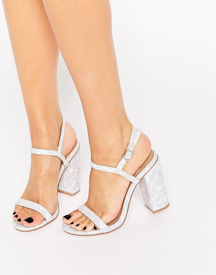 Hello Heeled Sandals Blue Lace - predominant colour: pale blue; occasions: casual, holiday; material: faux leather; heel height: high; ankle detail: ankle strap; heel: block; toe: open toe/peeptoe; style: strappy; finish: plain; pattern: plain; season: s/s 2016
