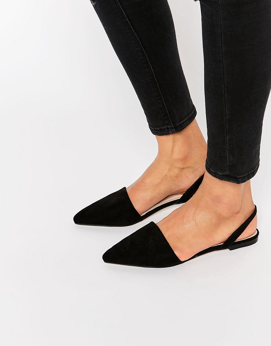 Lainey Pointed Sling Back Ballet Flats Black - predominant colour: black; occasions: casual; material: fabric; heel height: flat; toe: pointed toe; style: ballerinas / pumps; finish: plain; pattern: plain; season: s/s 2016
