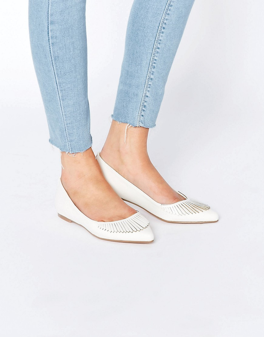 Limbo Fringed Pointed Ballet Flats White - predominant colour: white; occasions: casual; material: faux leather; heel height: flat; toe: open toe/peeptoe; style: ballerinas / pumps; finish: plain; pattern: plain; embellishment: fringing; season: s/s 2016
