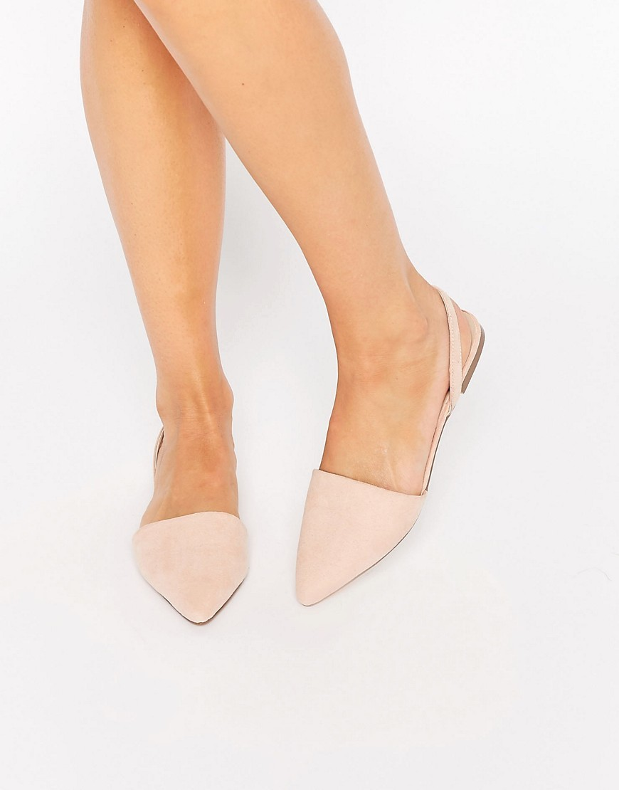 Lainey Pointed Sling Back Ballet Flats Nude - predominant colour: blush; occasions: casual; material: fabric; heel height: flat; toe: pointed toe; style: ballerinas / pumps; finish: plain; pattern: plain; season: s/s 2016; wardrobe: basic