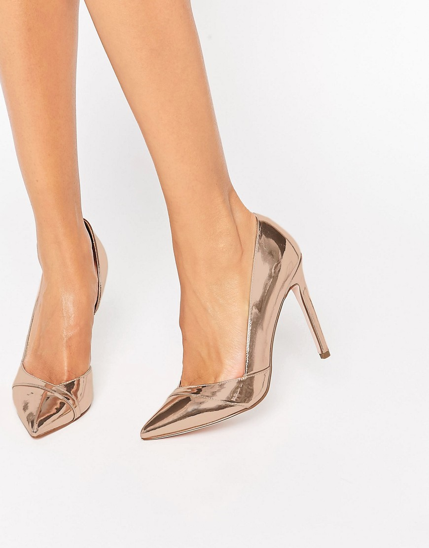 Pepper Pointed High Heels Nude Metallic - predominant colour: gold; occasions: evening, occasion; material: faux leather; heel height: high; heel: stiletto; toe: pointed toe; style: courts; finish: plain; pattern: plain; season: s/s 2016