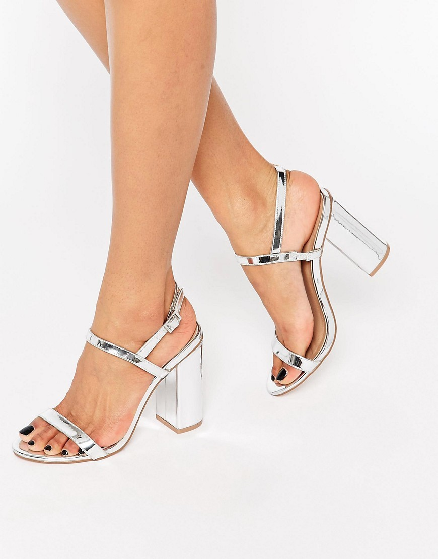 Hello Heeled Sandals Silver - predominant colour: silver; occasions: evening, occasion; material: faux leather; heel height: high; ankle detail: ankle strap; heel: block; toe: open toe/peeptoe; style: strappy; finish: metallic; pattern: plain; season: s/s 2016; wardrobe: event
