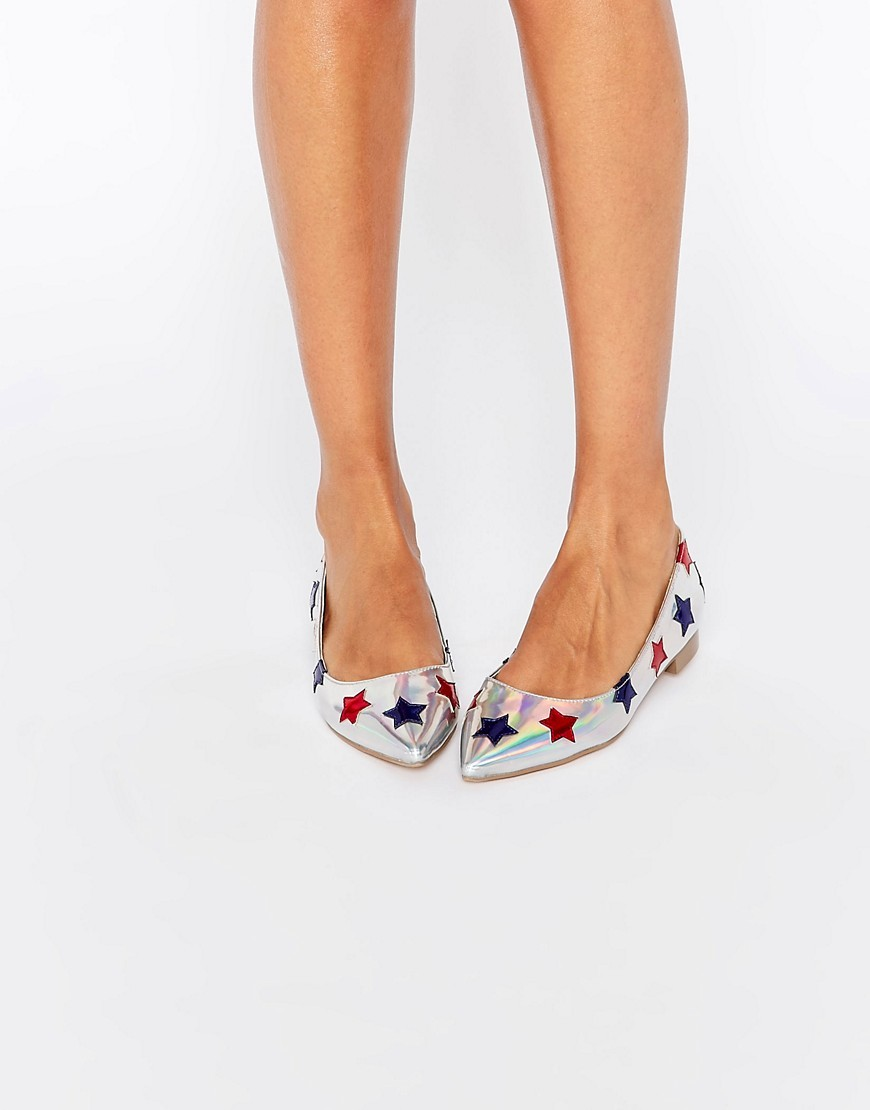 Lourdes Pointed Star Ballet Flats Multi - secondary colour: true red; predominant colour: silver; occasions: casual, evening; material: faux leather; heel height: flat; toe: pointed toe; style: ballerinas / pumps; finish: metallic; pattern: patterned/print; multicoloured: multicoloured; season: s/s 2016; wardrobe: highlight